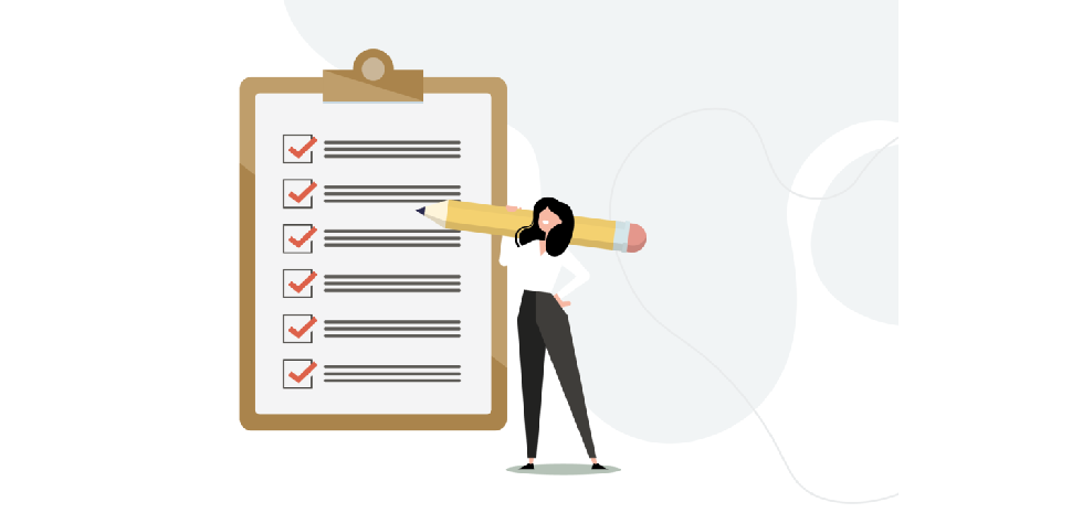 Cartoon van vrouw langs een checklist met potlood