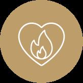 Bruine cirkel met hartje en vuur in