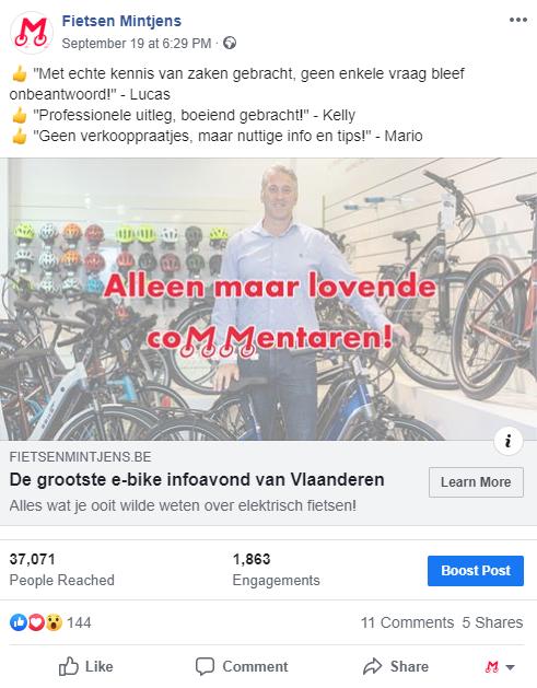 Fietsen Mintjens Social media advertentie facebook