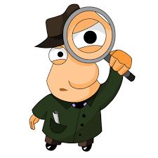 Cartoon van detective met vergrootglas