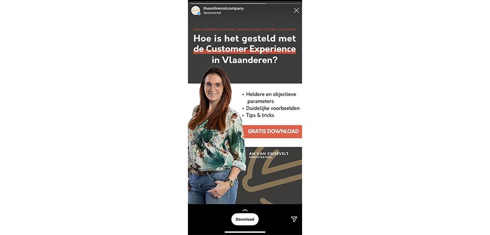 Instagram Stories advertentie TONC Customer Experience rapport