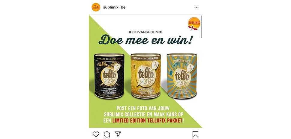 Instagram interactie via deel en winactie Sublimix Tellofix
