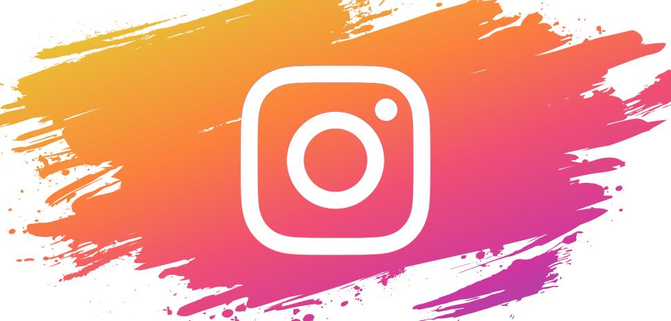 Banner met Instagram logo op Instagram kleuren