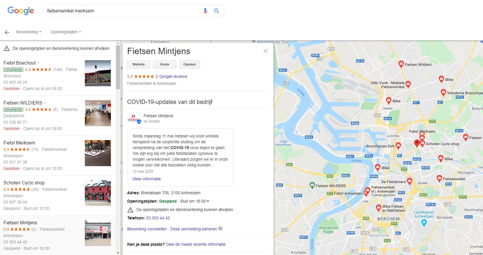 Google maps voorbeeld Google Mijn Bedrijf