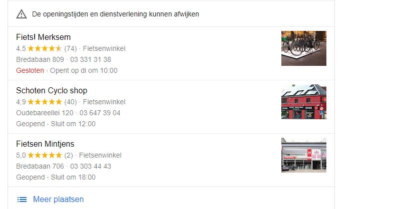 Google voorbeeld Google Mijn Bedrijf