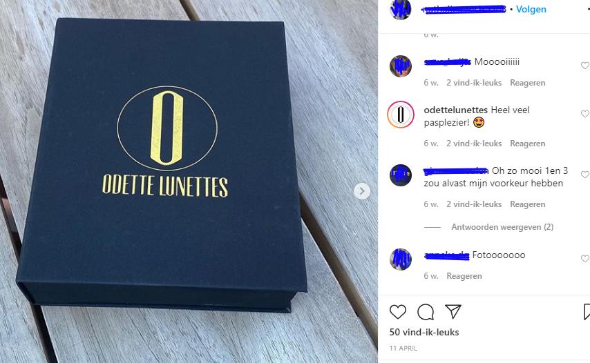 Doosje van Odette Lunettes gedeeld op Instagram