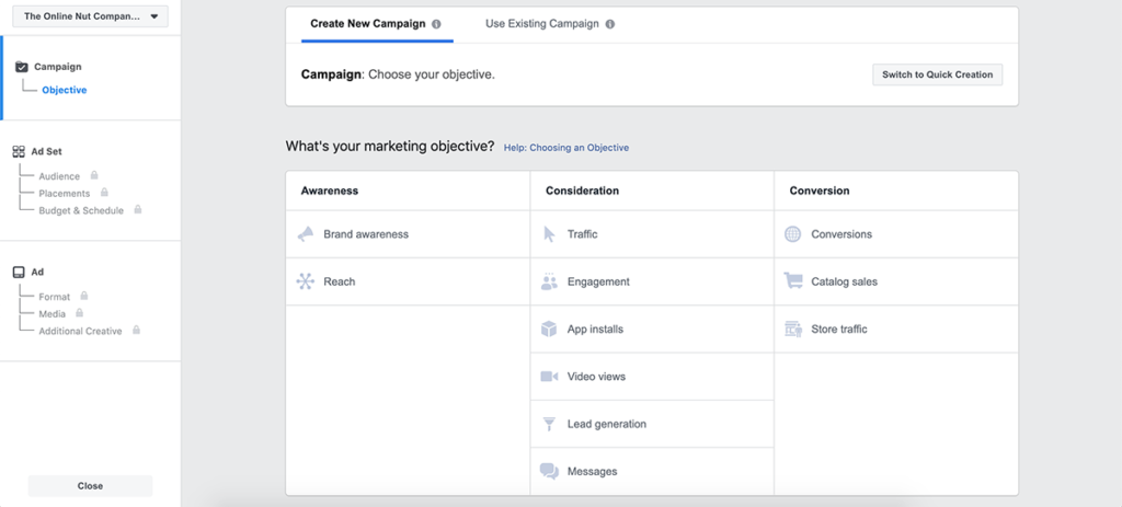 Facebook Business Manager Marketing Objective Overview
