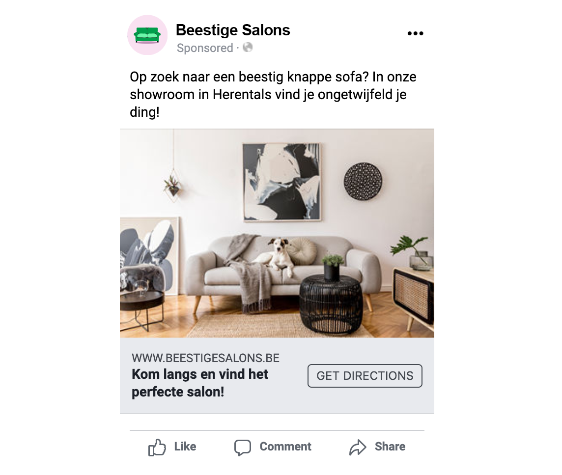 Voorbeeld goede Facebook advertentie retail marketing