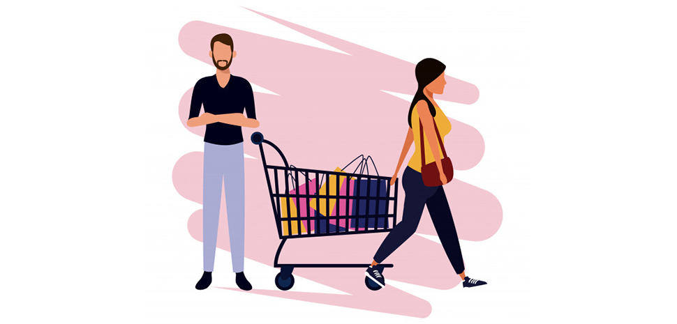 man vrouw en winkelkar