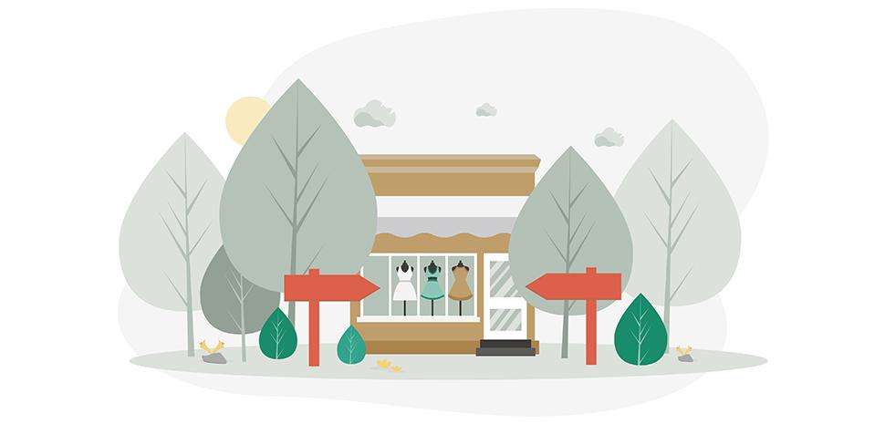 Boutique in het bos