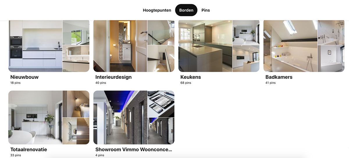 Pinterest borden per categorie retail showroom