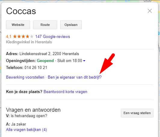 Google Mijn Bedrijf listing claimen